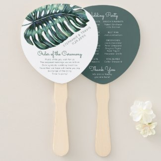 Tropical Monstera Palm Leaf Wedding Program Hand Fan