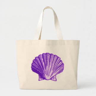 Tropical Moonlight Purple Shell Large Tote Bag