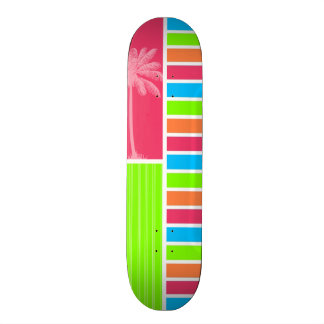 Tropical Neon Stripes Pink Blue Green Skateboard