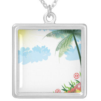 Tropical Oasis Square Pendant Necklace