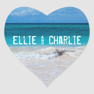 Tropical Ocean Beach Sand Heart Wedding Sticker