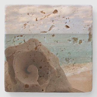 Tropical Ocean Beach Scene Seashell Nautical Theme Stone Coaster