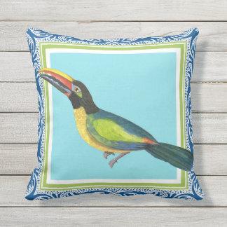 Tropical Ocean Beach Toucan Bird Batik Pattern Art Cushion