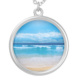 Tropical Ocean Round Pendant Necklace