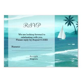 Tropical Ocean Sailing Wedding Enclosure RSVP Card