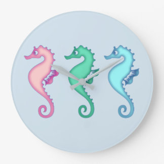 Tropical Ocean Seahorse Trio Large Clock