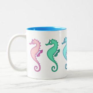 Tropical Ocean Seahorse Trio Two-Tone Coffee Mug