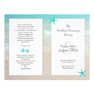 Tropical Ocean Starfish Christian Ceremony Program 21.5 Cm X 28 Cm Flyer
