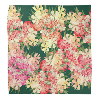 Tropical Oleander Flowers Floral Botanical Bandana