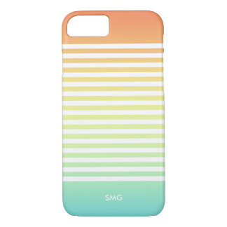 Tropical Ombre & White Stripes Monogrammed iPhone 8/7 Case