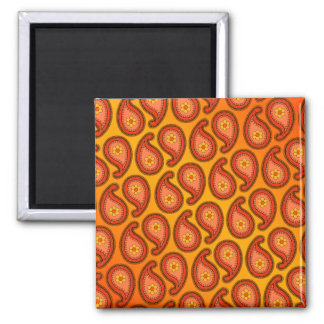 Tropical Orange and Yellow Paisley Pattern Square Magnet