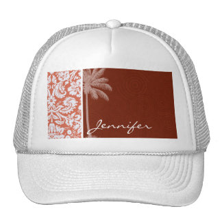 Tropical Orange Damask Mesh Hat