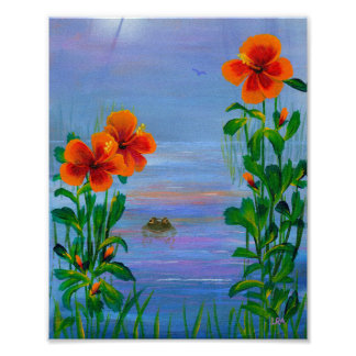 Tropical Orange Hibiscus Flowers Frog Creationarts Poster