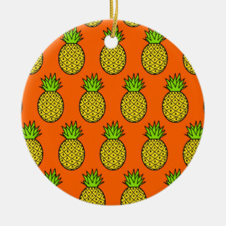 Tropical Orange Pineapples Christmas Ornament