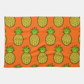 Tropical Orange Pineapples Tea Towel