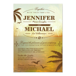 Tropical Orange Scenic Beach Wedding Invitations