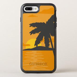 Tropical Orange Sunset & Palm Tree   Phone Case
