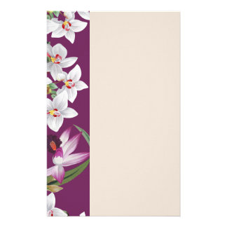 Tropical Orchid Flowers Floral Island Stationery