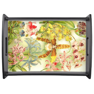Tropical Orchid Flowers Floral Serving Tray