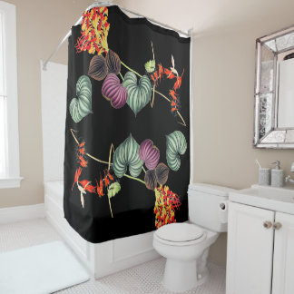 Tropical Orchid Flowers Jungle Leaf Shower Curtain
