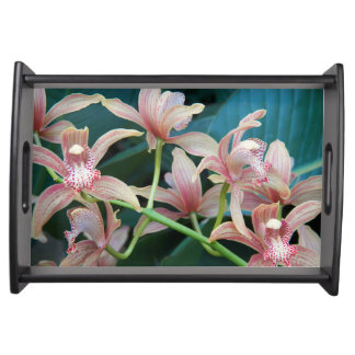 Tropical Orchids Floral Serving Tray
