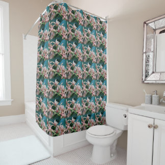 Tropical Orchids Floral Shower Curtain
