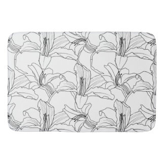 Tropical Outlines Floral Bath Mat Bath Mats