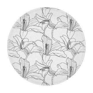 Tropical Outlines Floral Chopping Board