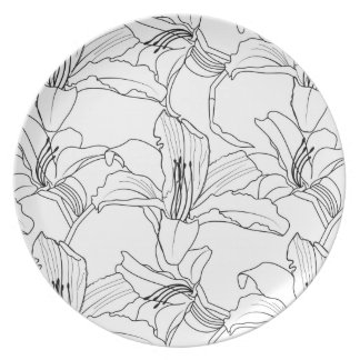 Tropical Outlines Floral Plate