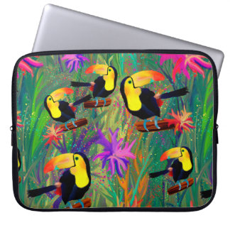 TROPICAL PAINTED TOUCAN BIRD AND FLOWERS LAPTOP SLEEVE