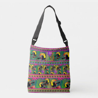 TROPICAL PAINTED TOUCAN BIRD STRIPES CROSSBODY BAG