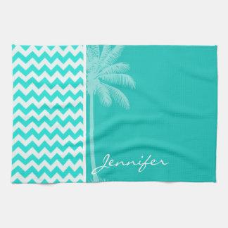 Tropical Palm; Aqua Color Chevron Tea Towel