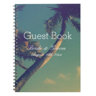 Tropical palm beach destination wedding guest book spiral note book