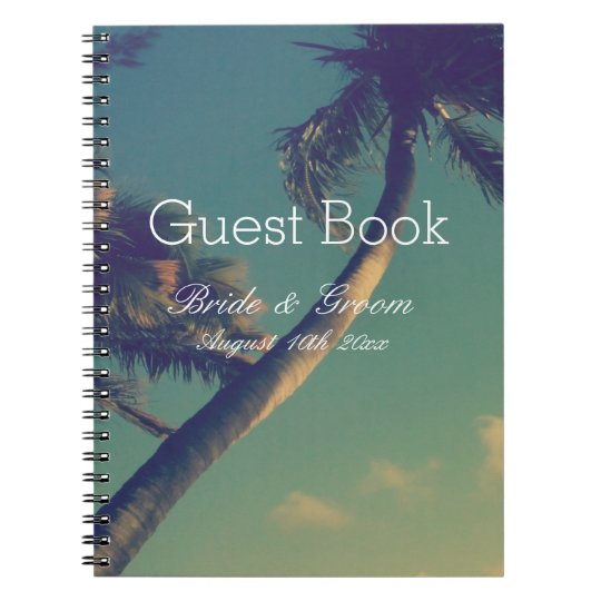 Tropical palm beach destination wedding guest book spiral