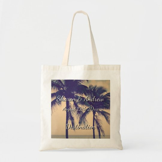 Tropical palm beach destination wedding tote bags