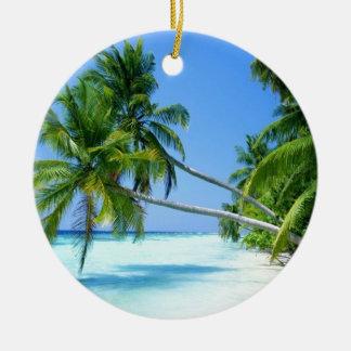 Tropical Palm Beach! Round Ceramic Decoration