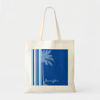 Tropical Palm; Blue & White Stripes