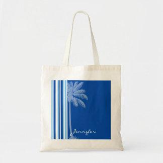 Tropical Palm; Blue & White Stripes Budget Tote Bag