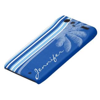 Tropical Palm; Blue & White Stripes Motorola Droid RAZR Case