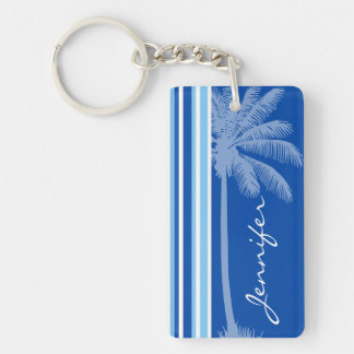 Tropical Palm; Blue & White Stripes Double-Sided Rectangular Acrylic Key Ring