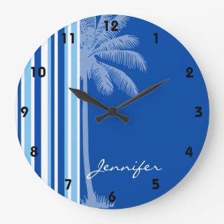 Tropical Palm; Blue & White Stripes Large Clock