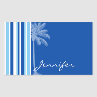 Tropical Palm; Blue & White Stripes Rectangular Stickers