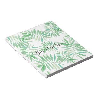 Tropical palm fern storm notepad