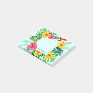 Tropical Palm Frond Hawaiian Flowers Personalized Post-it Notes