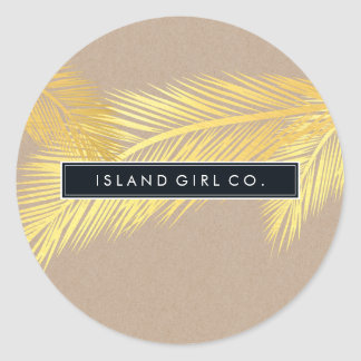 TROPICAL PALM FRONDS cute gold foil bold kraft Classic Round Sticker