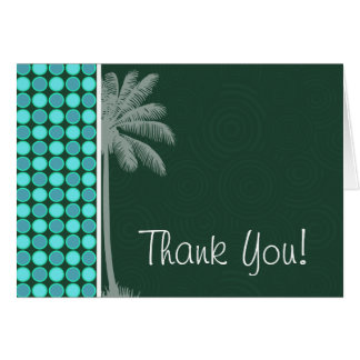 Tropical Palm; Green & Turquoise Polka Dot Card