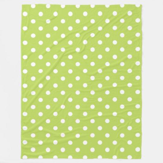 Tropical Palm Leaf Green and White Polka Dot Fleece Blanket