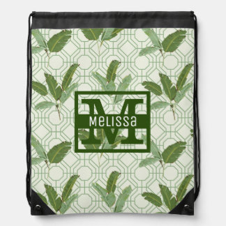 Tropical Palm Leaves | Add Your Name Drawstring Bag