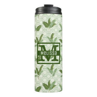 Tropical Palm Leaves | Add Your Name Thermal Tumbler