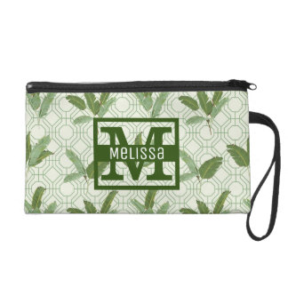 Tropical Palm Leaves | Add Your Name Wristlet